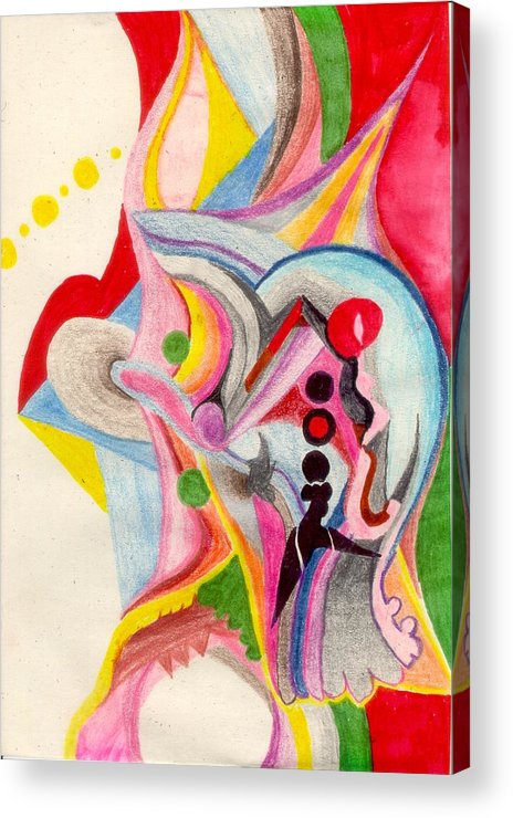 Abstract Acrylic Print featuring the drawing Enthusiasm For Experimentation by Peter Shor