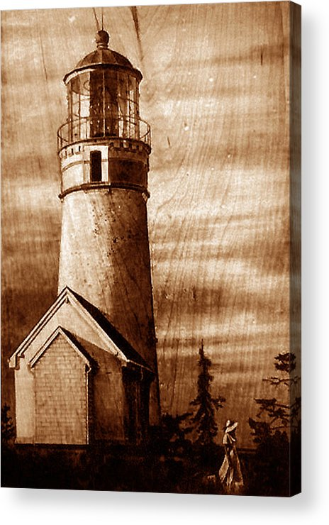 Dino Muradian Acrylic Print featuring the pyrography Evening Walk At Cape Blanco by Dino Muradian