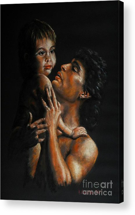 Pastels Portrait. Father & Child Painting. Painting In Pastels. Pastel Painting. Pastel Of Father & Acrylic Print featuring the pastel Father And Child by Tony Calleja