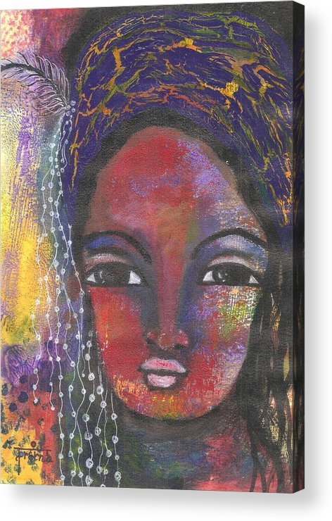 Woman Painting Acrylic Print featuring the mixed media Feather In My Cap by Prerna Poojara