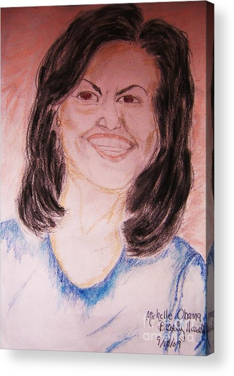 Michelle Obama Acrylic Print featuring the greeting card First Lady by Beverly Howell