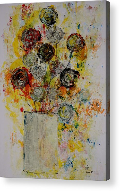 Art Acrylic Print featuring the drawing Flowers by Pascal Hagl