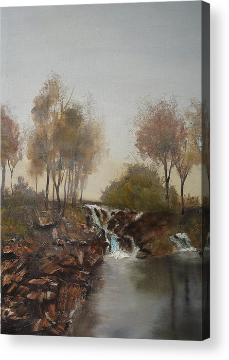 Landscape Acrylic Print featuring the painting Foggy Creek by James Eugene Moore