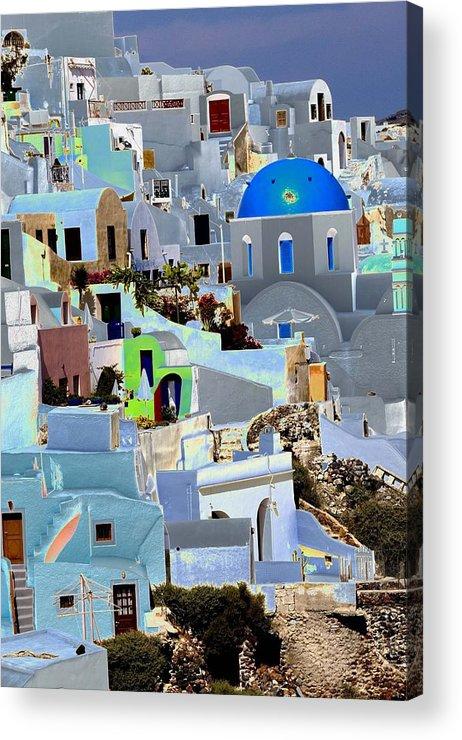 Santorini Acrylic Print featuring the photograph Greek Isle Of Santorini by Charles Ridgway