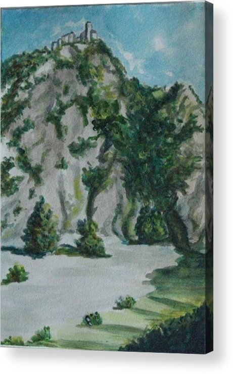Landscape Acrylic Print featuring the painting Guardando In Alto by Rita Bandinelli