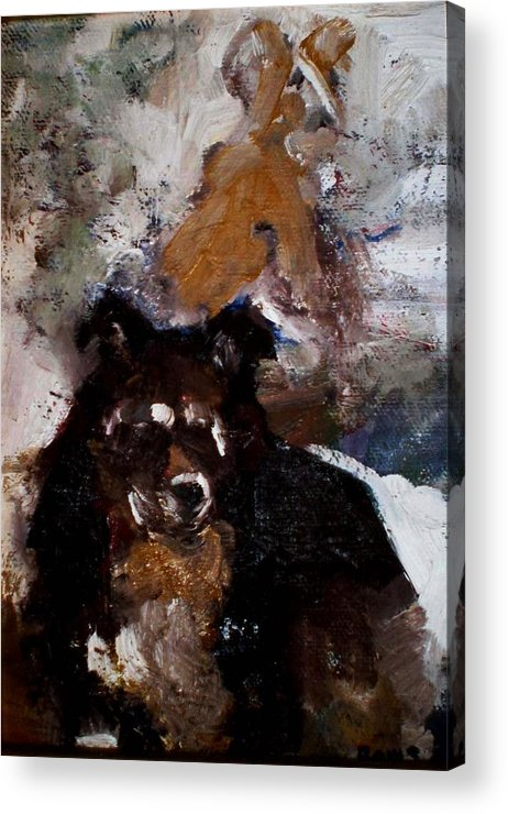 Dog Figurative Impressionistic Acrylic Print featuring the painting Gypsy Dog by Renee Rowe