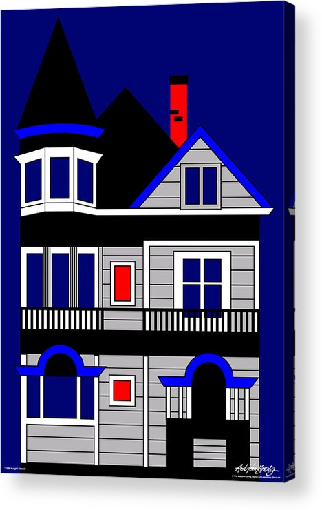 Victorian House Acrylic Print featuring the painting Haight Street San Francisco by Asbjorn Lonvig