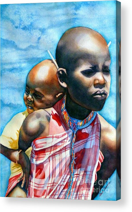 Portrait Acrylic Print featuring the painting He Ain't Heavy...he's My Brother by Gail Zavala