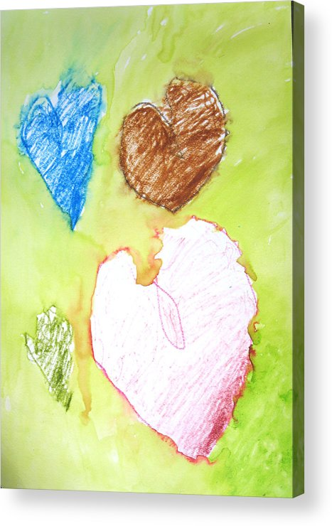 Hearts Acrylic Print featuring the mixed media Hearts by Teri Ann Foley