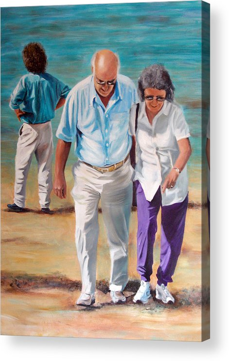 Beach Acrylic Print featuring the painting Helping Hand by Fiona Jack