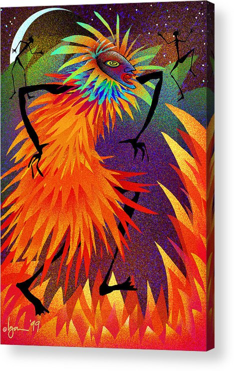 Land Of Ammaze Acrylic Print featuring the painting I Am Fire by Angela Treat Lyon