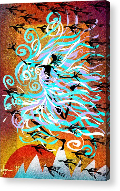 Land Of Ammaze Acrylic Print featuring the painting I Am Wind by Angela Treat Lyon