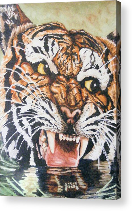 Tiger Acrylic Print featuring the painting Im Drinking Here by Donald Dean