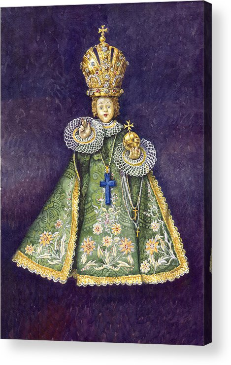 Watercolour Acrylic Print featuring the painting Infant Jesus Of Prague by Yuriy Shevchuk