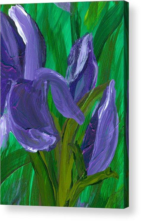 Iris Acrylic Print featuring the painting Iris Up Close And Personal by Wanda Pepin