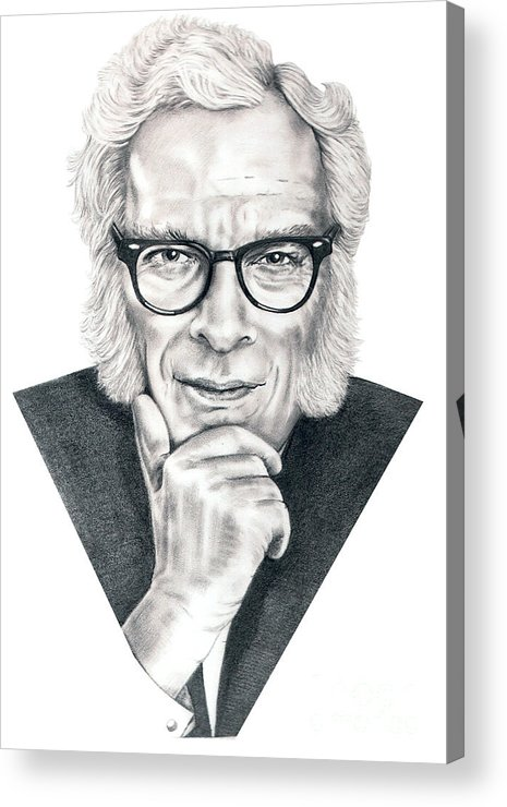 Portrait Acrylic Print featuring the drawing Isaac Asimov by Murphy Elliott