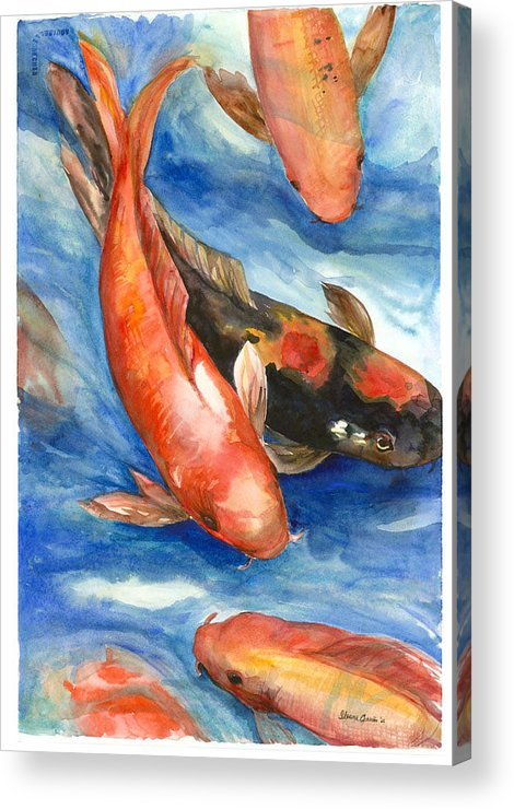 Fishes Acrylic Print featuring the painting Koi Fish by Ileana Carreno