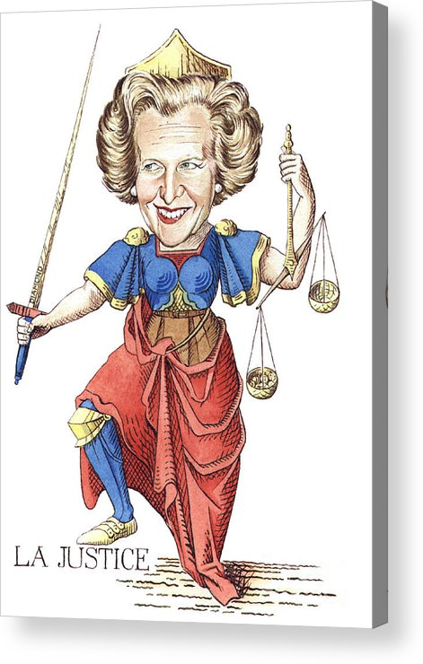 Margaret Thatcher Scales Justice Tarot Caricature Sword Acrylic Print featuring the painting La Justice by Debbie Diamond