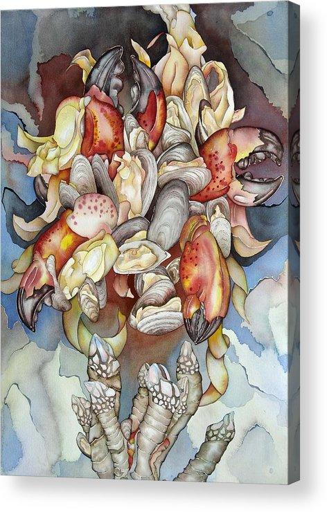 Sealife Acrylic Print featuring the painting La Mer En Rouge by Liduine Bekman