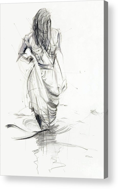 Woman Acrylic Print featuring the drawing Lady In The Waters by Kerryn Madsen-Pietsch
