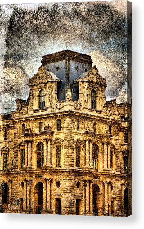Europe Acrylic Print featuring the photograph Louvre A La Grunge by Greg Sharpe