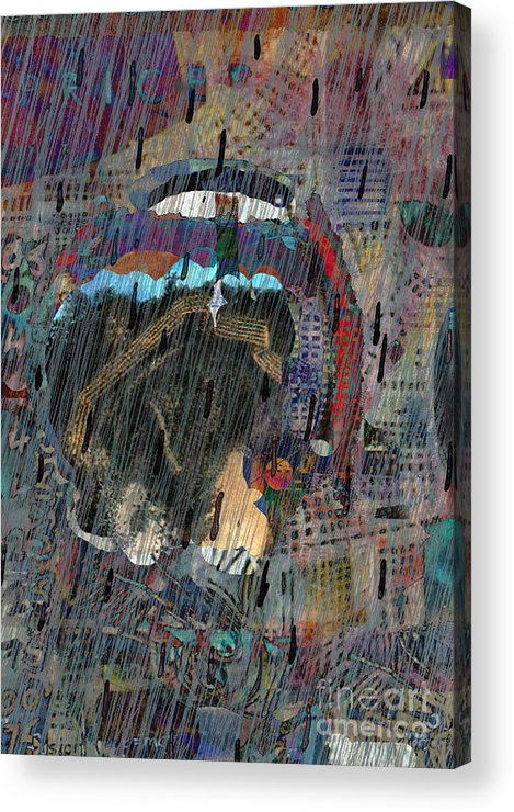 Raiin Acrylic Print featuring the digital art Madonna In The Rain by Andy Mercer