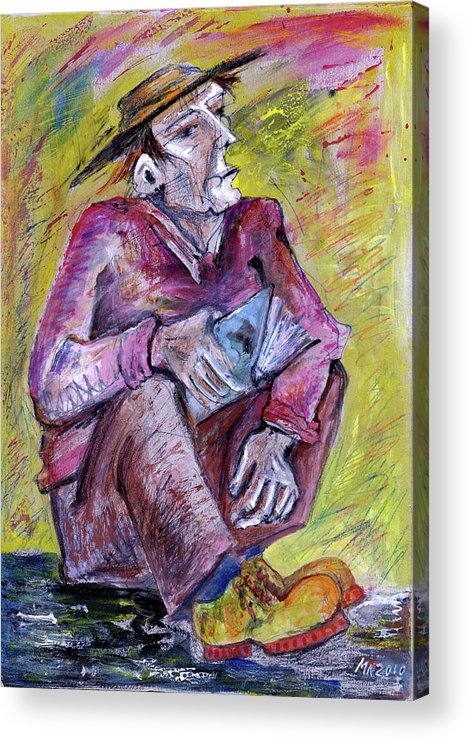 Man Acrylic Print featuring the drawing Man With Book by Milen Litchkov