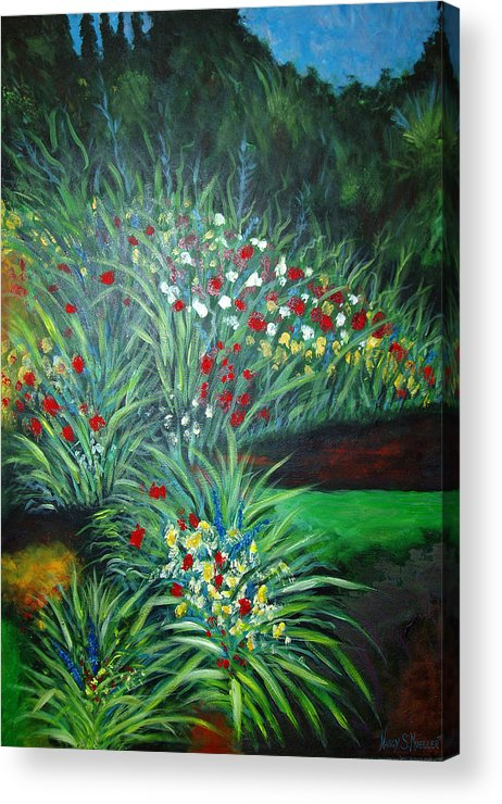 Landscape Acrylic Print featuring the painting Maryann's Garden 3 by Nancy Mueller