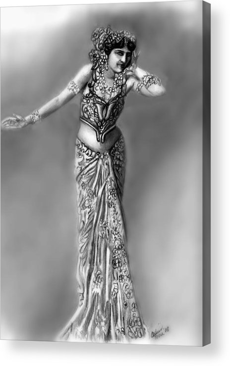 Spy Acrylic Print featuring the drawing Mata Hari by Carliss Mora