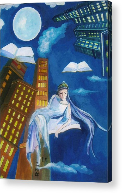 Book Acrylic Print featuring the painting Midnight Reader by Min Wang