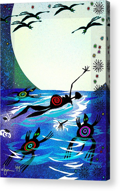 Land Of Ammaze Acrylic Print featuring the painting Moonlight Swim by Angela Treat Lyon