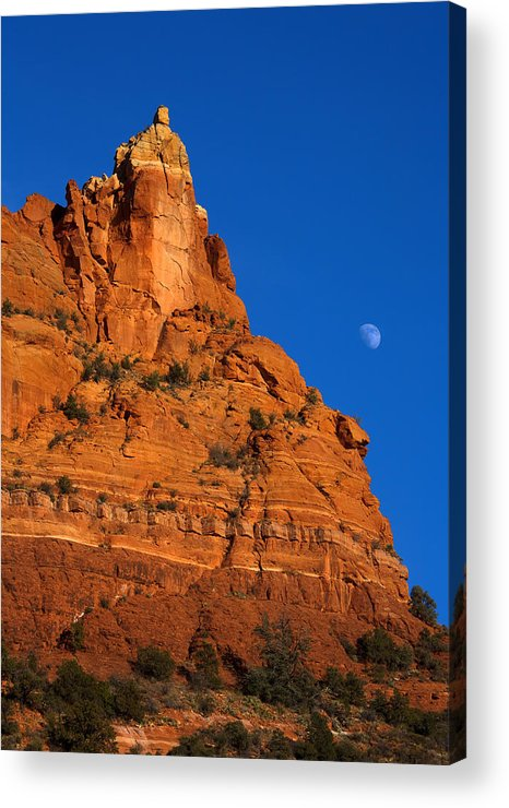Moonrise Acrylic Print featuring the photograph Moonrise Over Red Rock by Mike Dawson
