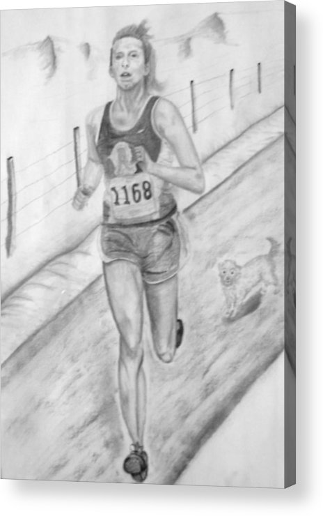 Charcoal Drawing Acrylic Print featuring the drawing Morning Race by Russ Smith