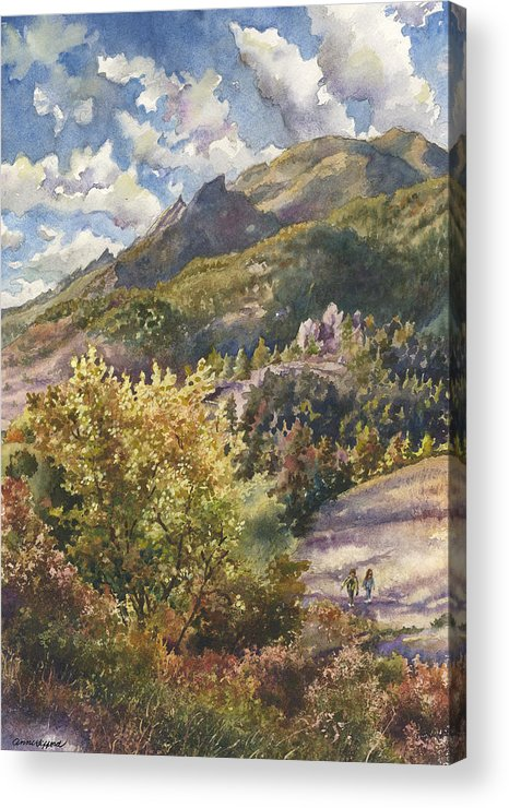 Autumn Painting Acrylic Print featuring the painting Morning Walk At Mount Sanitas by Anne Gifford