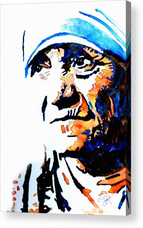 Mother Acrylic Print featuring the painting Mother Teresa by Steven Ponsford