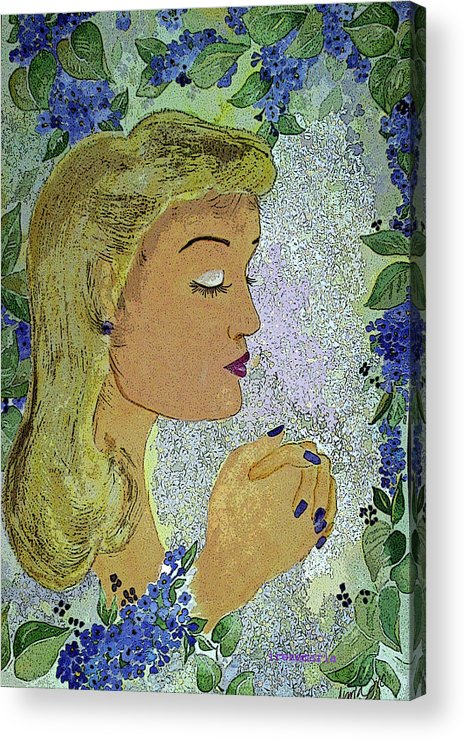 Lilac Prayer Acrylic Print featuring the painting My Prayer by Irenemaria