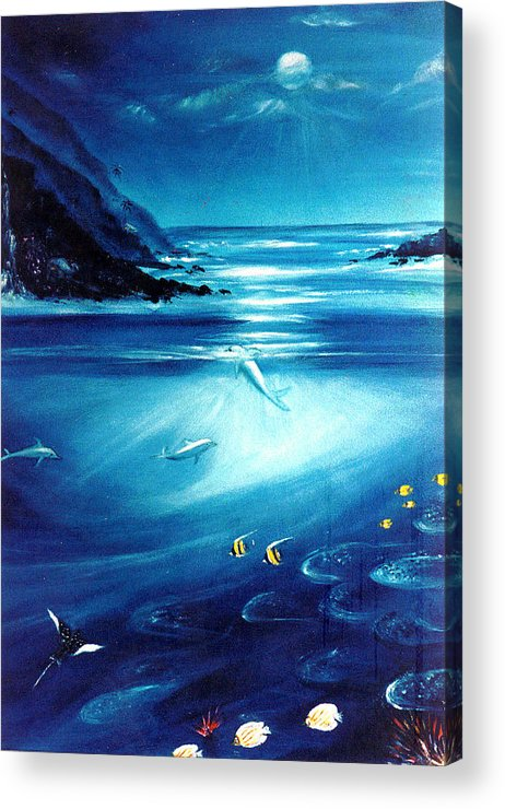 Seascape Acrylic Print featuring the painting Mystic Moonlight by Dina Holland
