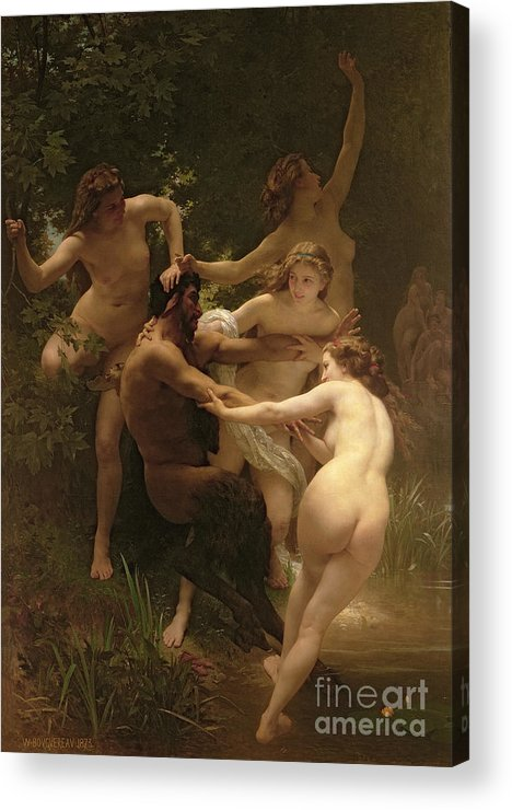 Nymphs And Satyr Acrylic Print featuring the painting Nymphs And Satyr by William Adolphe Bouguereau
