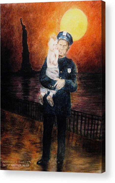 Police Acrylic Print featuring the pastel Officer Daddy by Larry Whitler