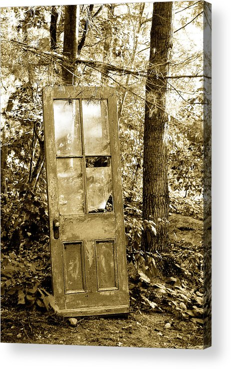 Broken Glass Acrylic Print featuring the photograph Old Door by Linda McRae