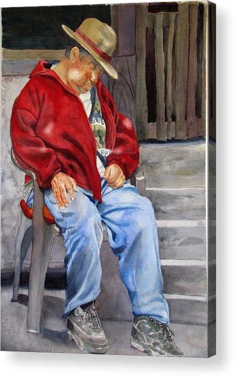 Man Acrylic Print featuring the painting Old Man Resting by Libby Cagle