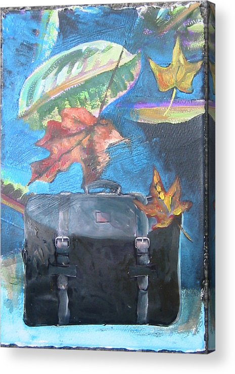Suitcase Acrylic Print featuring the mixed media Packed Bag by Tilly Strauss