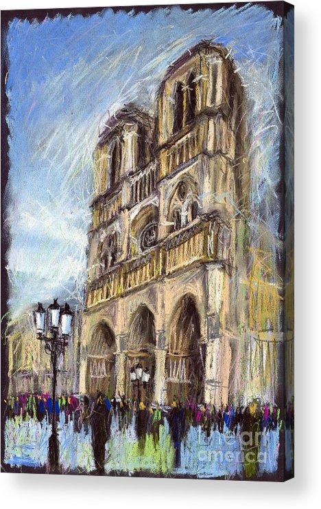 Cityscape Acrylic Print featuring the painting Paris Notre-dame De Paris by Yuriy Shevchuk