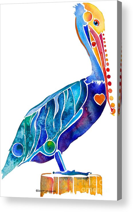 Pelican Acrylic Print featuring the painting Penny Pelican by Jo Lynch