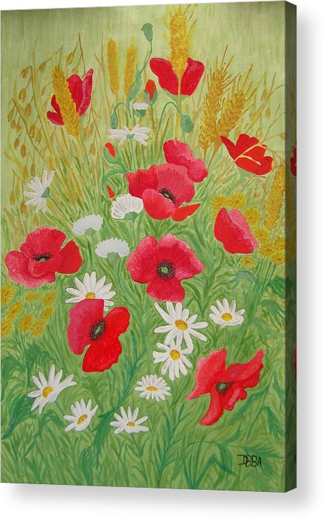 Poppies Acrylic Print featuring the painting Poppy Field by Dan Anning