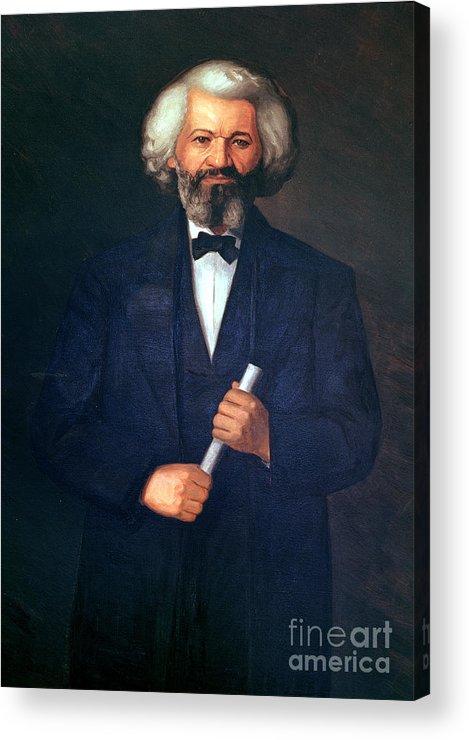 Portrait Of Frederick Douglass (1817-95) (oil On Canvas) By American School (19th Century) Acrylic Print featuring the painting Portrait Of Frederick Douglass by American School