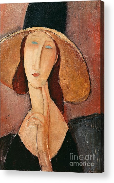 Portrait Acrylic Print featuring the painting Portrait Of Jeanne Hebuterne In A Large Hat by Amedeo Modigliani