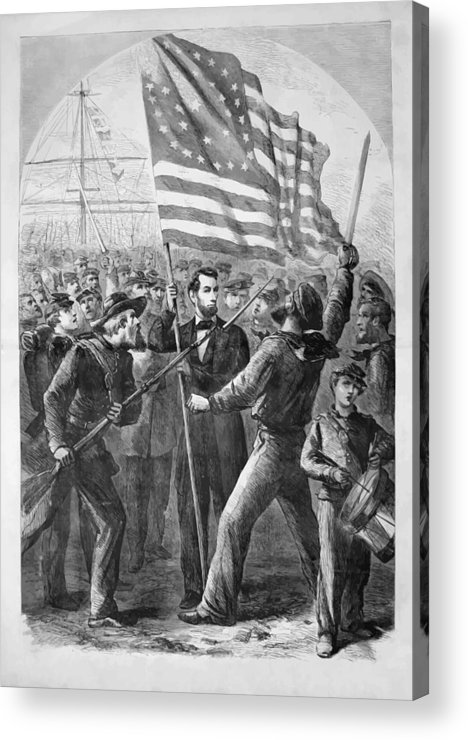 Abraham Lincoln Acrylic Print featuring the painting President Lincoln Holding The American Flag by War Is Hell Store