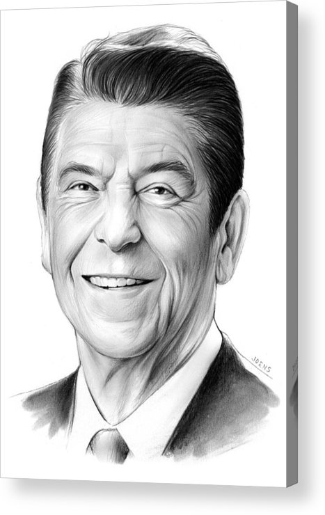President Acrylic Print featuring the drawing President Ronald Reagan by Greg Joens