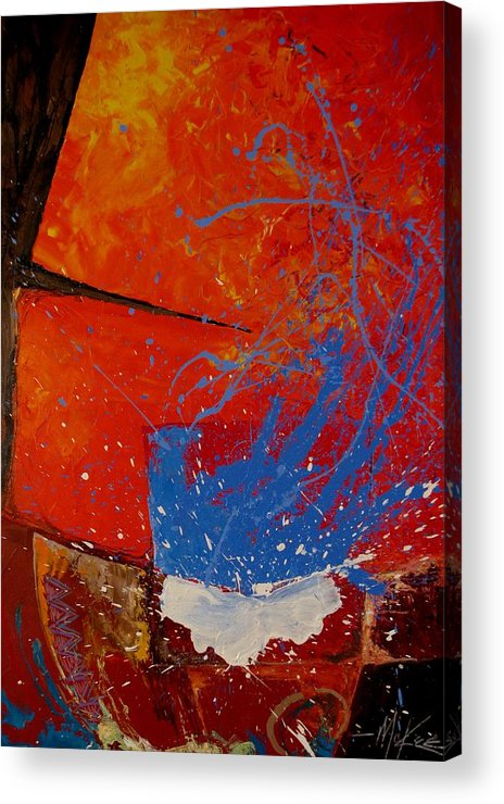 Oil Acrylic Print featuring the painting Raku by David McKee